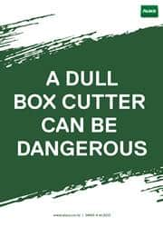 box cutter safety message poster