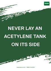 never lay acetylene tank message poster