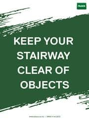 keep stairway clear reminder poster