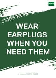 important use of earplug at work reminder poster
