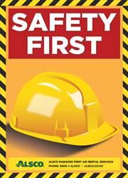 yellow hard hat safety reminder poster