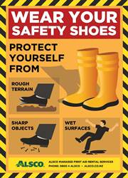 work safety shoes reminder poster