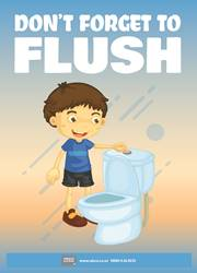 proper way to flush the toilet reminder poster