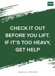 proper way to lift heavy objects reminder poster