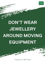 don't wear jewellery reminder poster