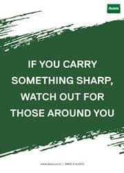 sharp safety reminder poster