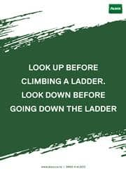 look up before using a ladder reminder poster