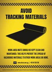 avoid tracking materials reminder poster