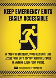 emergency exit reminder poster