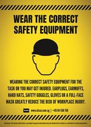 use of correct safety equipment reminder poster