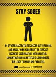 stay sober workplace safety reminder poster