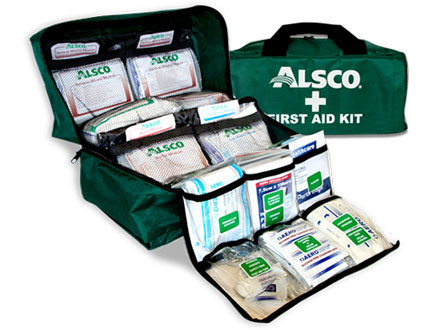Alsco green first aid kit full of medical supplies
