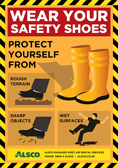 Alsco NZ Training Safety Posters wear safety shoes