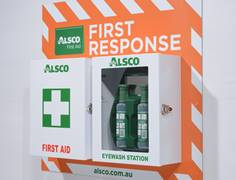 Alsco First Aid Response System on the wall