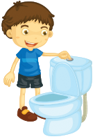 Student holding the toilet bowl