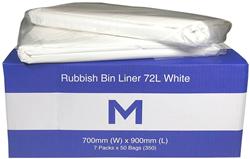 Rubbish Bag 72L White TieTop MD