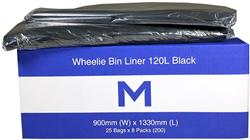 Small Wheelie Bin Liner 120L Black