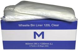 Wheelie Bin Liner 120L Clear