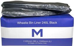 Wheelie Bin Liner 240L Black