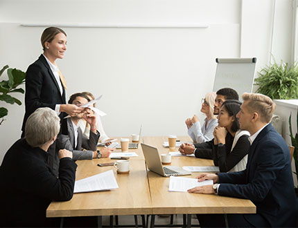 employees conducting a meeting