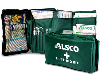 Alsco green first aid kit with different medical supplies