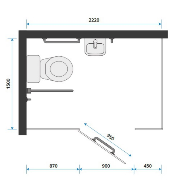 Toilet Cubicle Size for PWD