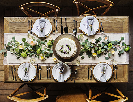rustic themed dining table setup