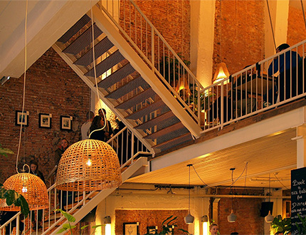 restaurant chandelier with warm lighting