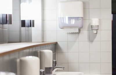 white clean office bathroom