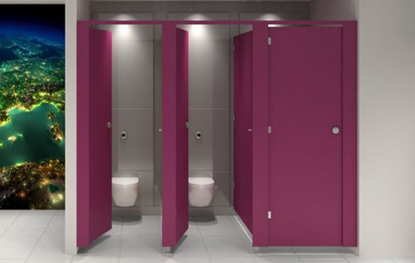 fuchsia pink colour toilet door with clean white floor