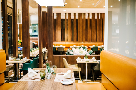 dinner table in luxury hotel