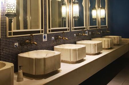 clean and stylish public washroom