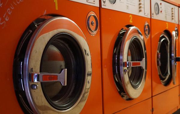orange commercial washing machine