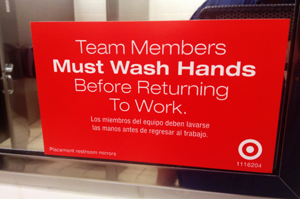 employee hand washing signage