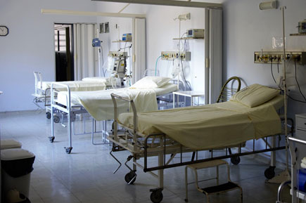 Hospital empty bed and equipements