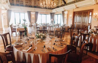 Serving tables for wedding in old restaurant