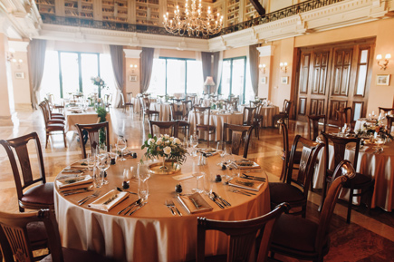 Serving tables for wedding in old restaurant