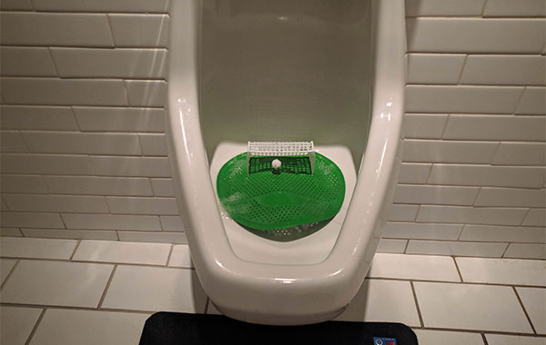 Urinal with a miniature screen