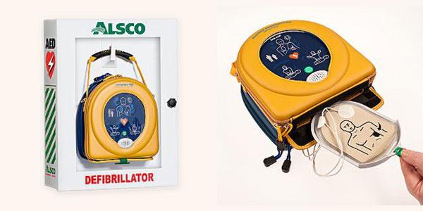 Portable defibrillator with box