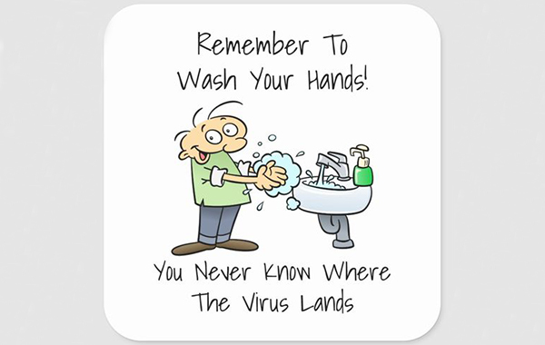 cartoon character washing hands